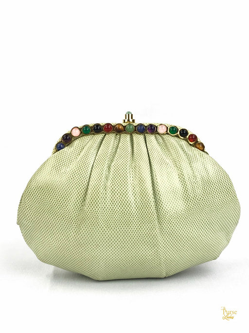 JUDITH LEIBER Green Lizard Skin Jeweled Clutch