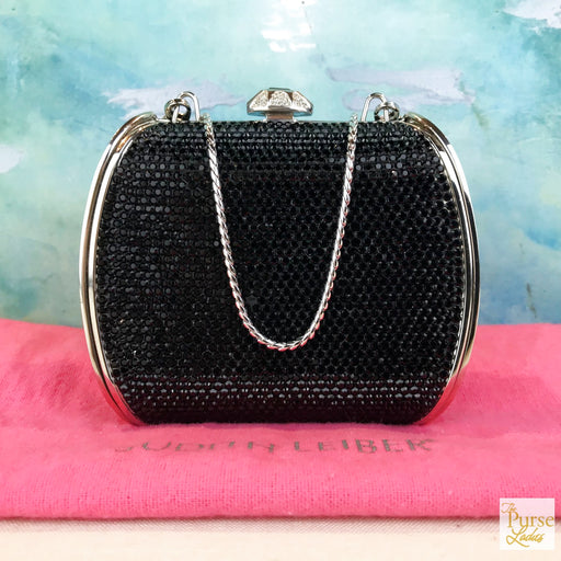 JUDITH LEIBER Black Crystal Evening Bag Crossbody