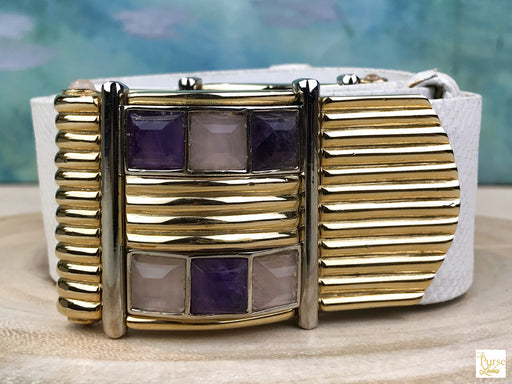 $495  JUDITH LEIBER White Lizard Skin Leather Amethyst Stone Belt SALE!