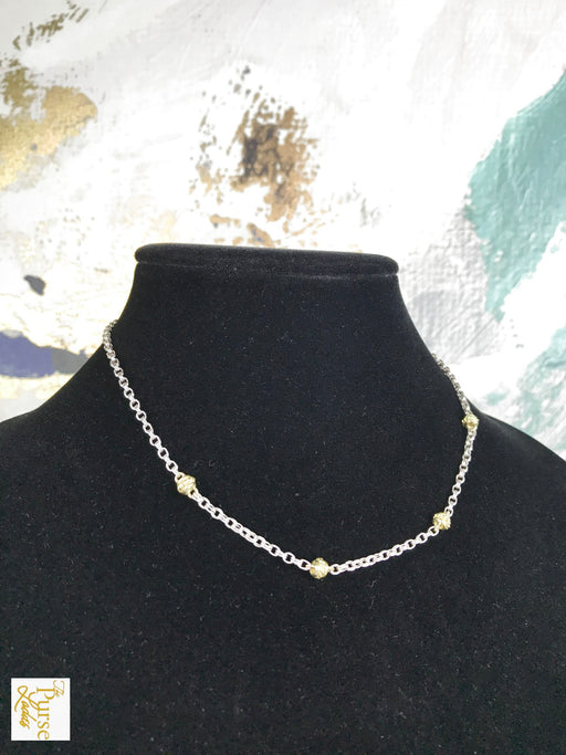 JUDITH RIPKA 925 Sterling Silver 18k Gold Station Chain Necklace