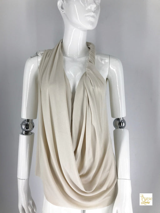 LANVIN Cream/Light Beige Jersey Twist Sleeveless Waterfall Top SZ 42