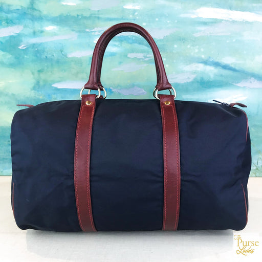 LONGCHAMP Navy Blue Nylon Satchel Bag
