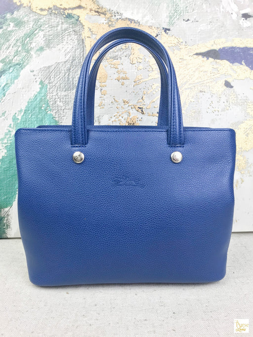 LONGCHAMP Le Foulonne Small Blue Leather 2 Way Tote Bag