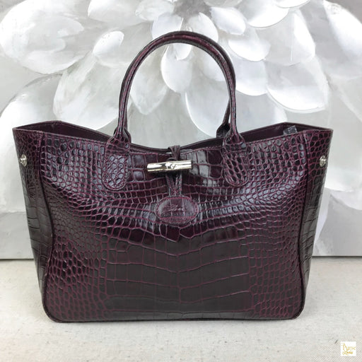 LONGCHAMP Red Embossed Crocodile Leather Roseau Tote