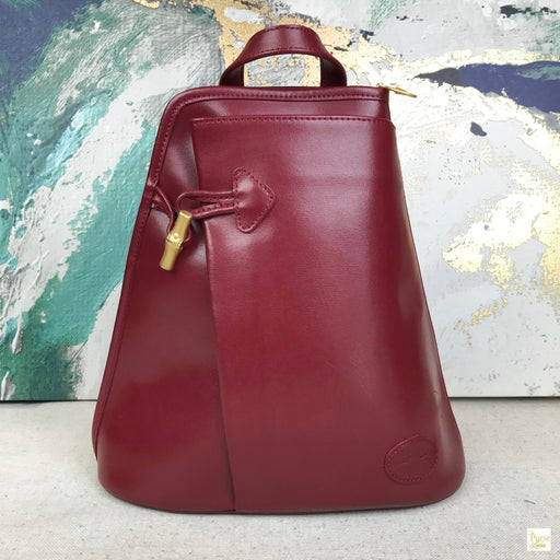 LONGCHAMP Red Leather Roseau Toggle Backpack
