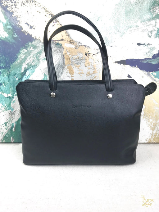 LONGCHAMP Black Leather Zippered Tote Bag