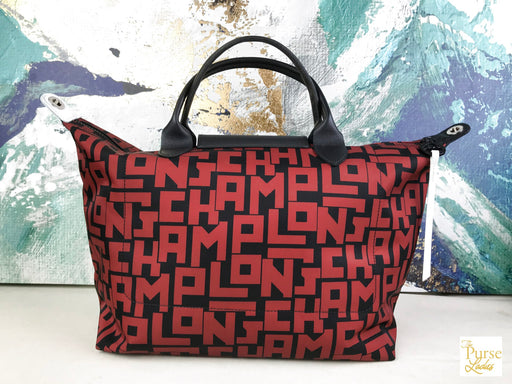 LONGCHAMP Red Black LGP Le Pliage Nylon Large Tote Shoulder Bag