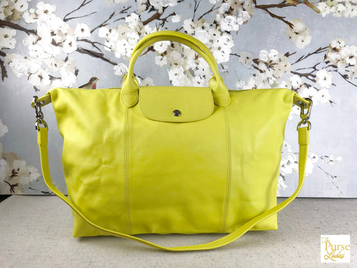 LONGCHAMP Neon Green Yellow Leather Flap Snap Cuir Le Pliage Crossbody Satchel Bag