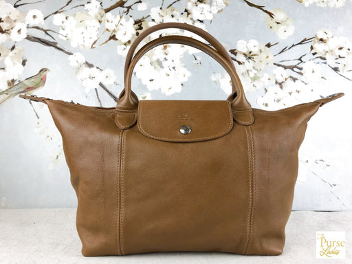 LONGCHAMP Tan Leather Zippered Le Pliage Crossbody Shoulder