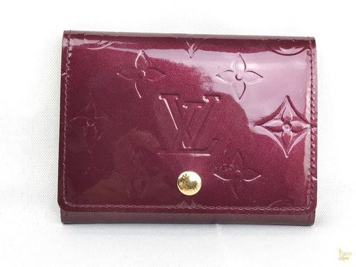 LOUIS VUITTON Red Vernis Patent Leather Card Wallet