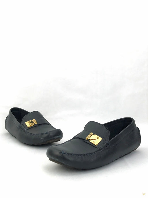 LOUIS VUITTON Navy Blue Leather Driving Loafers SZ 37