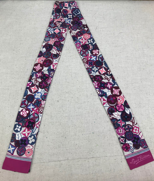 LOUIS VUITTON Pink & Purple Floral Monogram Bandeau Scarf