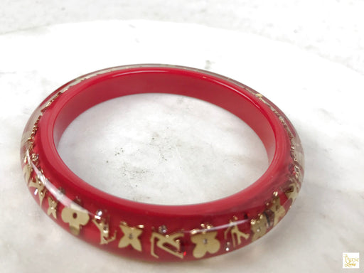 LOUIS VUITTON Red Resin Monogram Inclusion Bracelet
