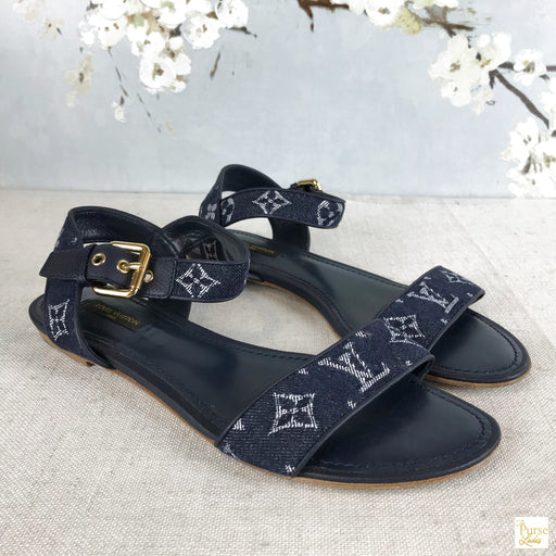 LOUIS VUITTON Blue Formentera Denim Monogram Sandals Flats Sz 38.5
