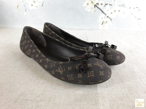 LOUIS VUITTON Brown Mini Lin Debbie Flats SZ 38