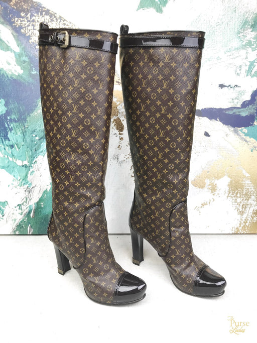 LOUIS VUITTON Brown Idole Monogram Coated Canvas High Knee Sz 38 Boots Heels