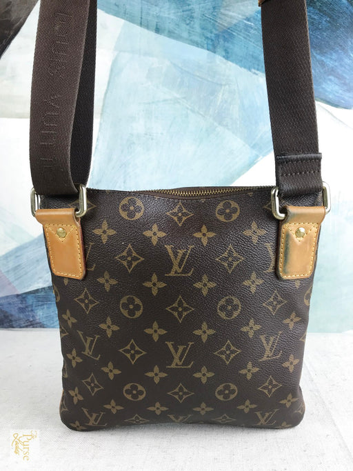 LOUIS VUITTON Brown Monogram Coated Canvas Crossbody Bag