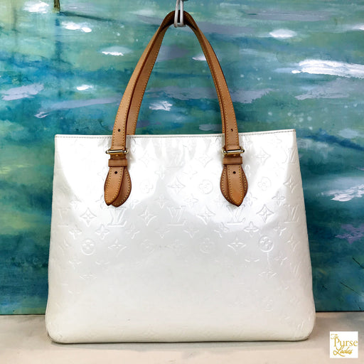 $925 LOUIS VUITTON White Pearl Brentwood Vernis Tote Monogram Patent Leather Embossed
