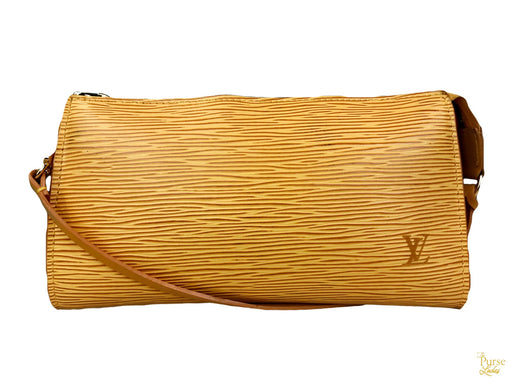 $605 LOUIS VUITTON Yellow Epi Leather Pochette Bag Zip