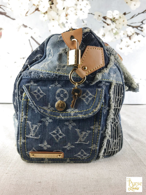 LOUIS VUITTON Blue Monogram Denim Patchwork Speedy Satchel