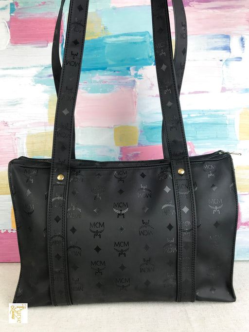 MCM Black Visetos Monogram Vinyl Tote Bag