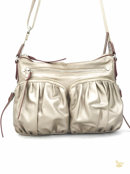 MZ WALLACE Beige Coated Canvas Mia Bedford Crossbody