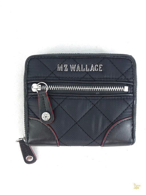 MZ WALLACE Mini Black and Red Leather Crosby Wallet
