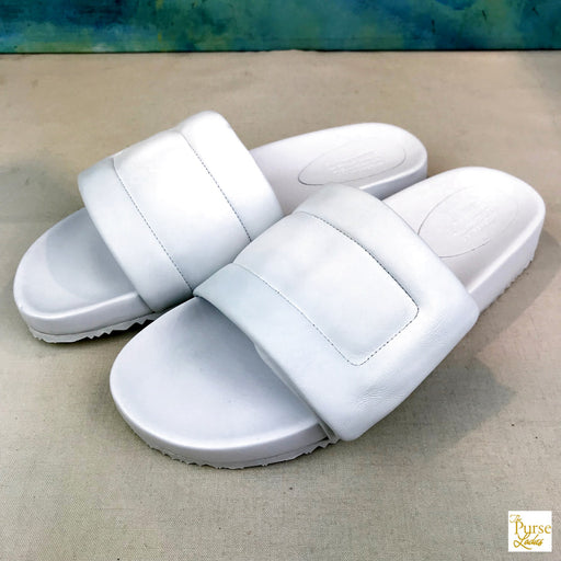 $395 MAISON MARGIELA White Puffy Leather Slip SZ 42 On Pool Slides NEW!