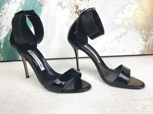 Manolo Blahnik Black Patent Leather Sandals Size 37