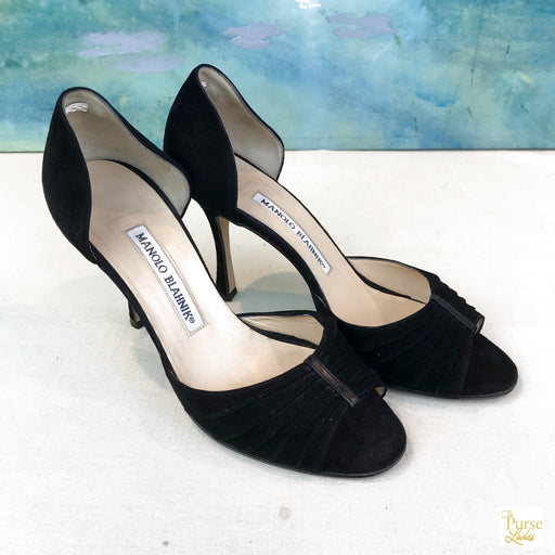 $695 Manolo Blahnik Black Suede d'Orsay SZ 36 Slip On Heels sale!