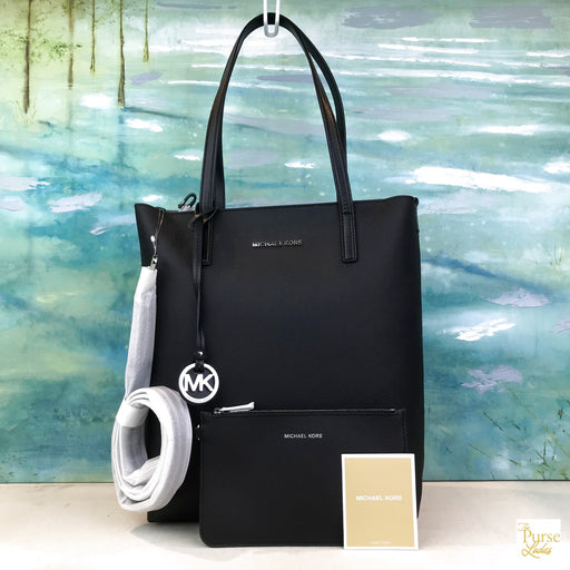 704a74ae34d0 $198 MICHAEL KORS Black Leather Hayley Large North South Tote w. Pouch NWT