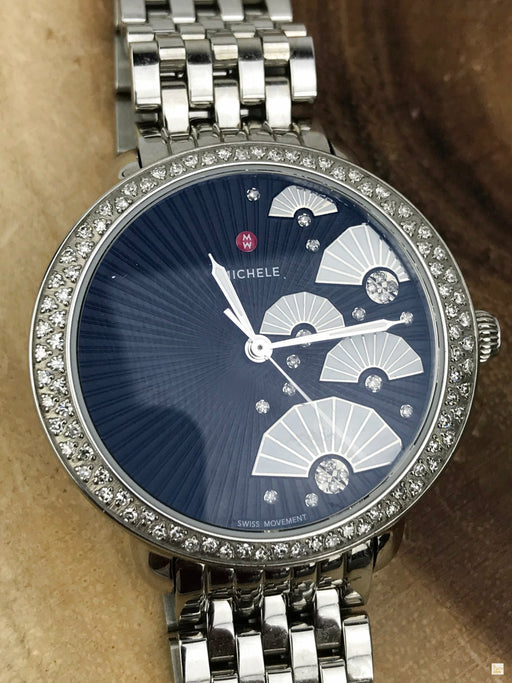 MICHELE Silver Stainless Steel Serein Fan Diamond Watch