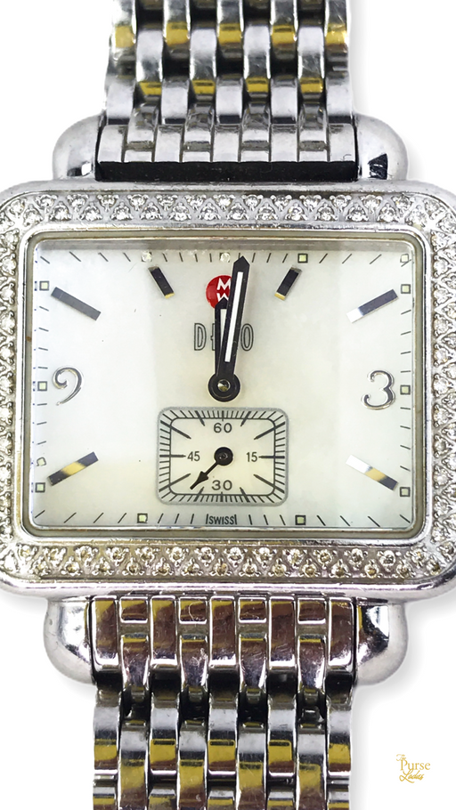 MICHELE Silver Stainless Steel Diamond Deco Watch