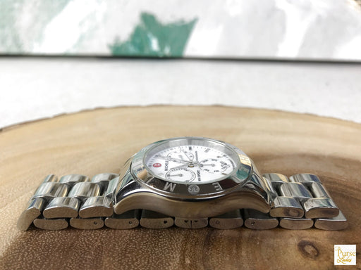 MICHELE Silver Stainless Steel MW Sport Chronograph Watch