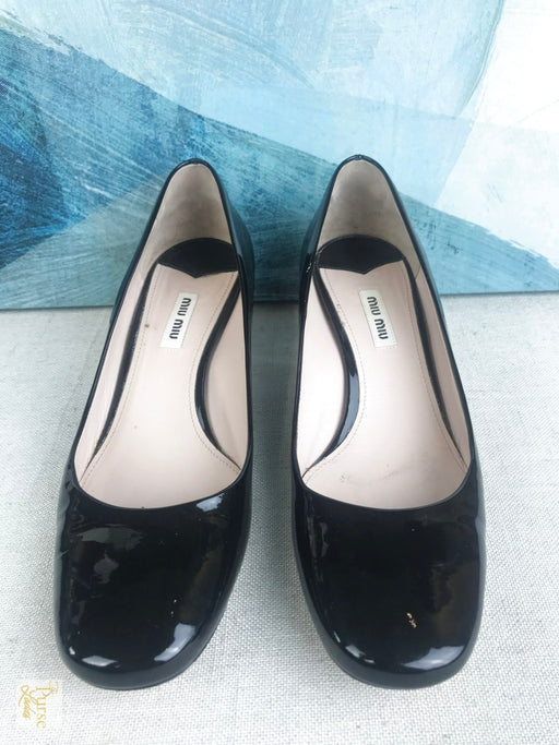 MIU MIU Black Patent Leather Crystal Block Heels SZ 40