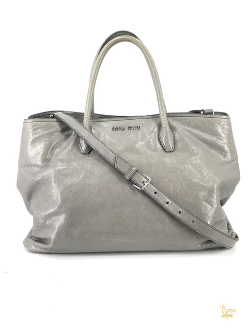 MIU MIU Gray Glazed Leather 2 Way Tote Bag