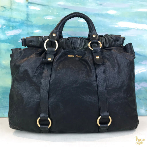 MIU MIU Black Leather Vitello Lux 2 Way Bag