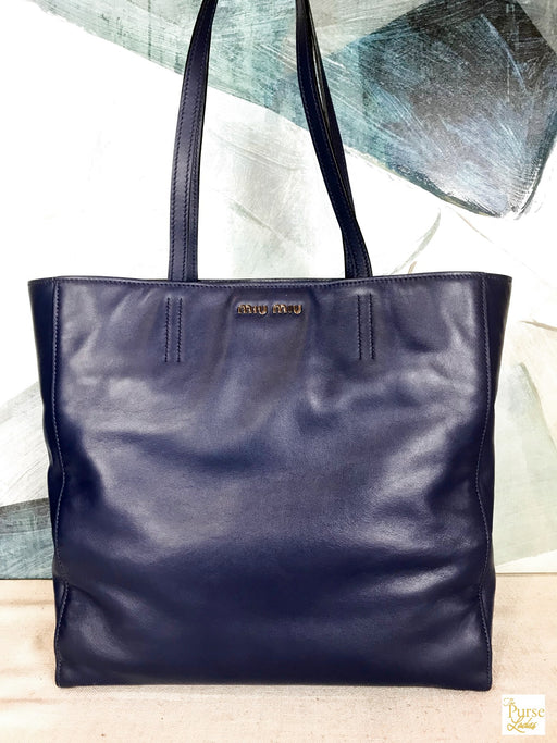 $895 MIU MIU Blue Vitello Leather Logo Shopper Tote Bag Purse SALE!