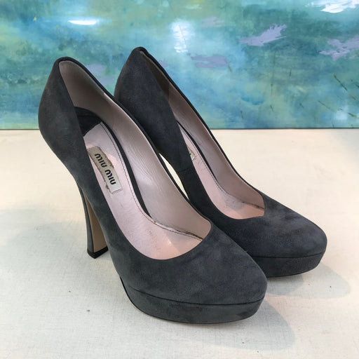 $795 MIU MIU Gray Suede Platform Pumps SZ 36 Heels w/ Box SALE!