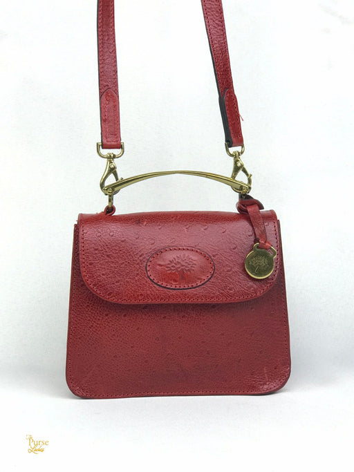 MULBERRY Red Faux Ostrich Leather 2 Way Crossbody