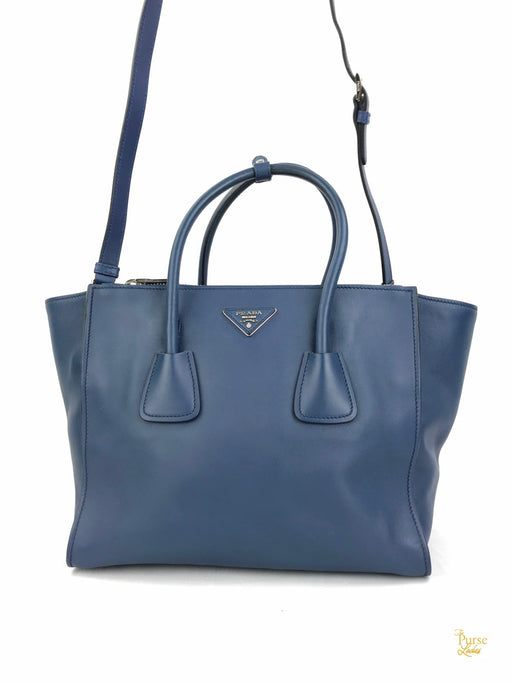 PRADA Blue Leather Double Zip Twin Pocket Tote