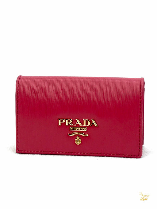 PRADA NEW Pink Leather Card Holder Wallet