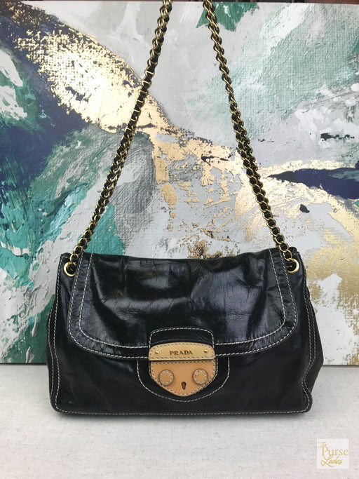 PRADA Black Leather Chain Link Flap Shoulder Bag