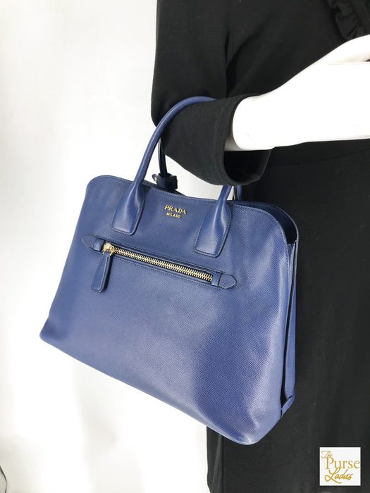 PRADA Blue Dome Tote Bag