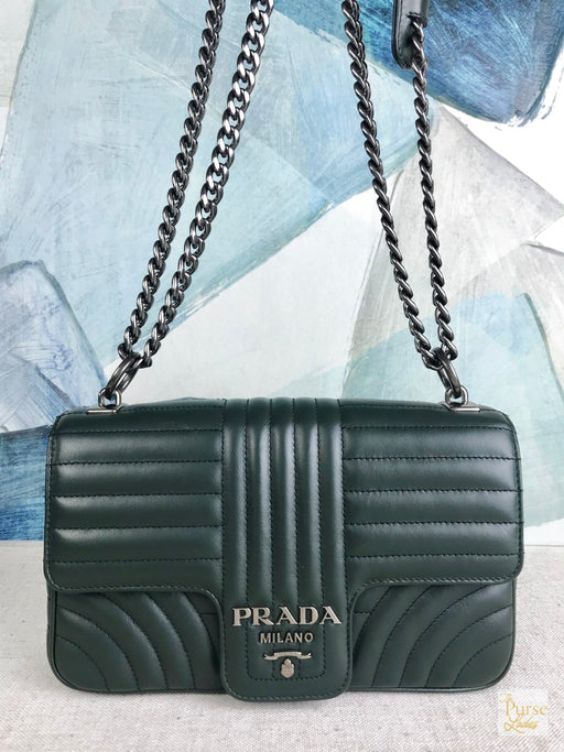 PRADA Medium Green Emerald Diagramme Quilted Leather Shoulder Bag