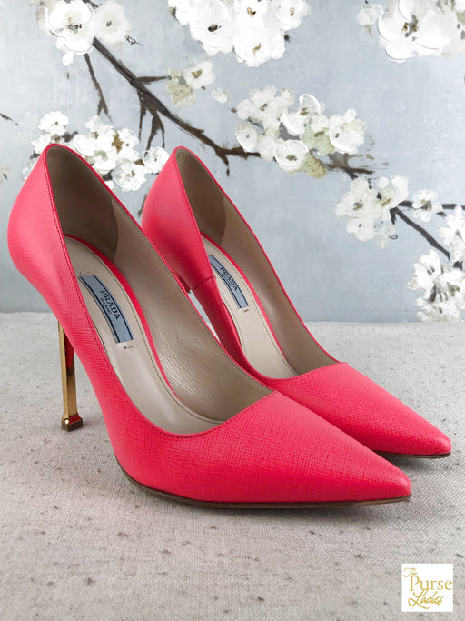 PRADA Pink Saffiano Leather Rosa Pumps SZ 38.5