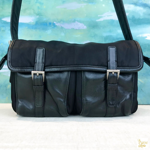PRADA Black Nylon Double Buckle Shoulder Bag