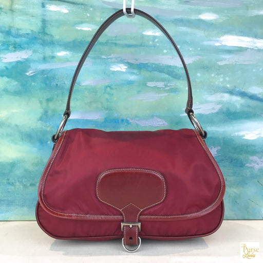 PRADA Red Nylon Flap Leather Buckle Shoulder Bag #50