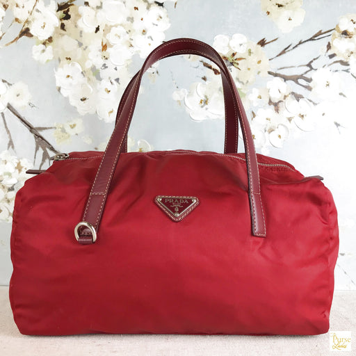 PRADA Red Nylon Bowler Satchel Bag