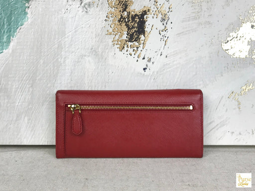 PRADA Red Saffiano Leather Long Wallet